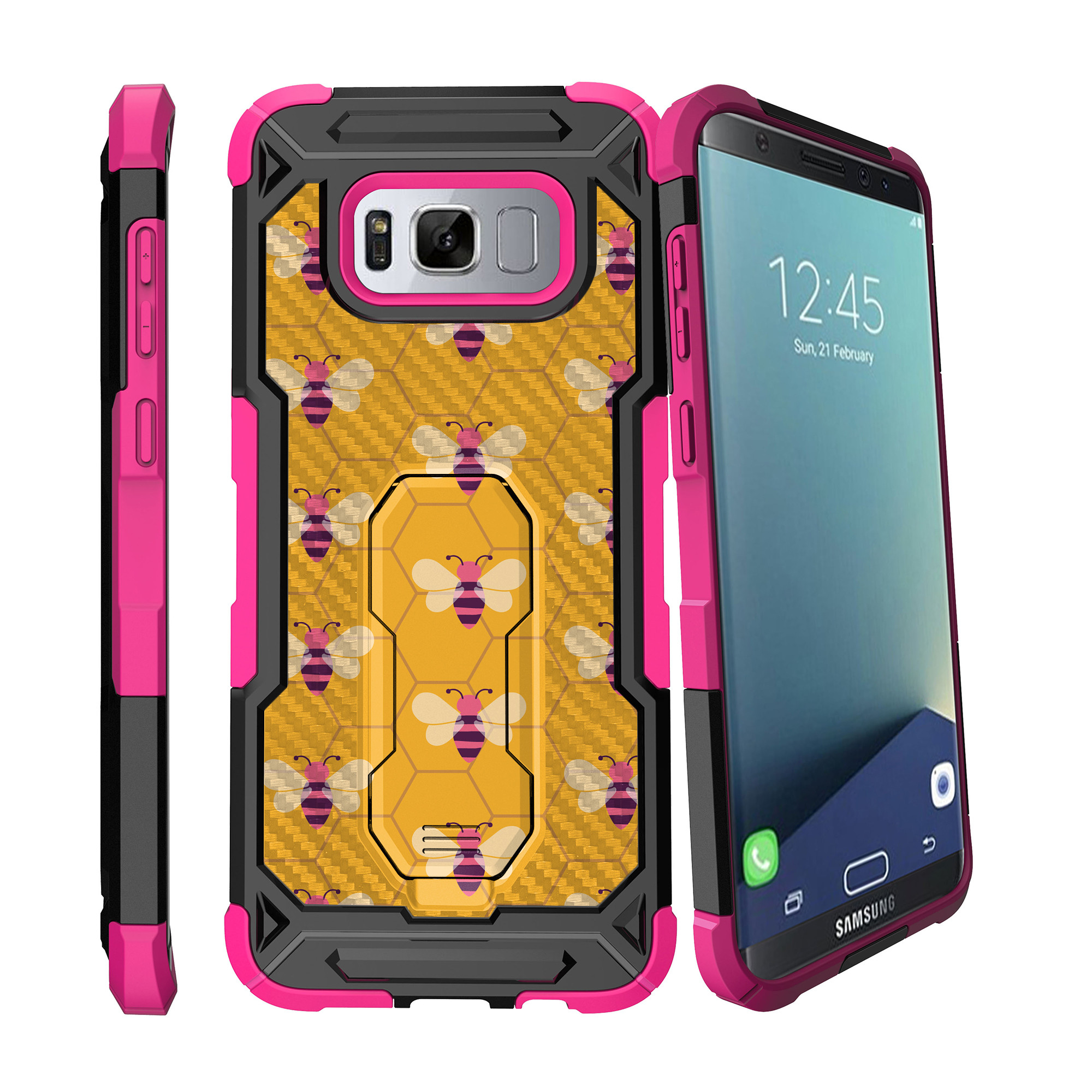 Case for Samsung Galaxy S8 Plus Version [ UFO Defense Case ][Galaxy S8 PLUS SM-G955][Pink Silicone] Carbon Fiber Texture Case with Holster + Stand Unique Collection