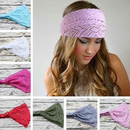 HiCoup Girl's Fashion Stretchy Wide Lace Headband Turban Headwrap Bandanas - Lace Headbands For Adults