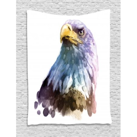Bird Tapestry, Watercolor Bald Eagle Patriotic American Hand Drawn Animal with Brush Marks Effect, Wall Hanging for Bedroom Living Room Dorm Decor, 40W X 60L Inches, Multicolor, by - Hand Drawn Watercolor