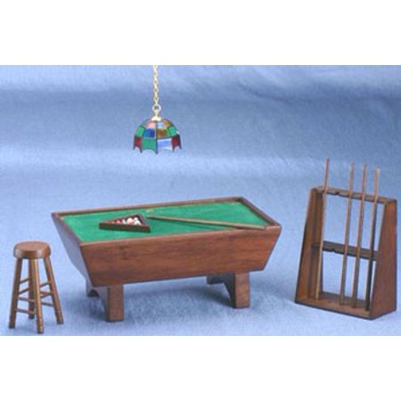 Dollhouse Pool - Dollhouse Mahogany Pool Table Set 24Pc