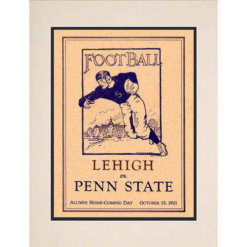 NCAA - 1921 Penn State Nittany Lions vs. Lehigh Mountain Hawks 10 1/2 x 14 Matted Historic Football Poster