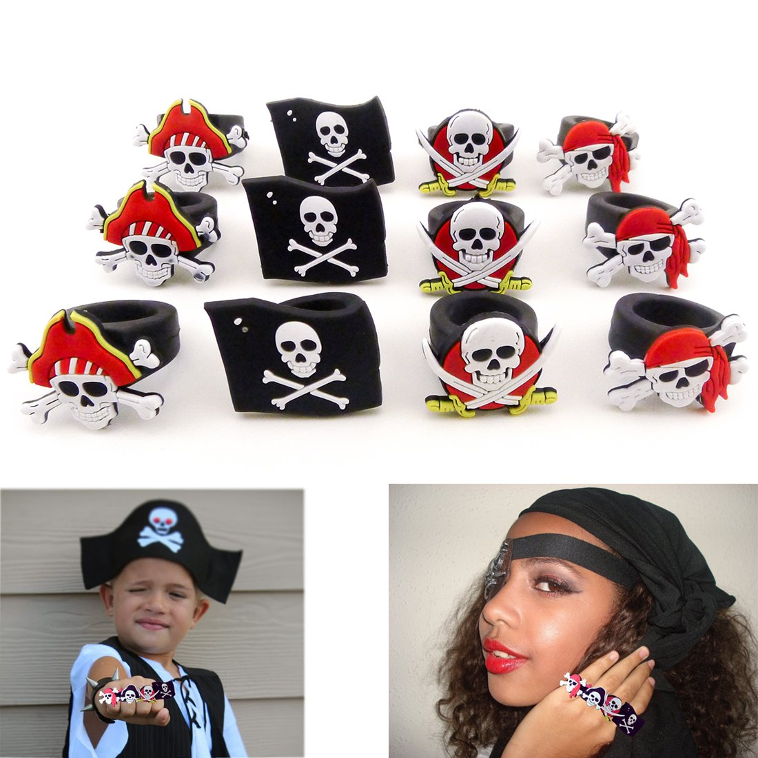 Rubber Pirate Rings 1 Dozen Halloween Costume Easter Egg Fillers - NEW