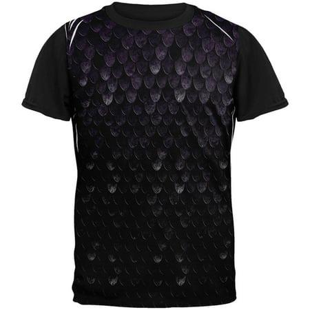 Halloween Dark Elf Shadow Scale Armor All Over Mens Black Back T Shirt](Dark Elf Halloween Contact Lenses)