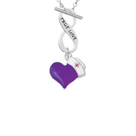 Purple Heart with Nurse Hat True Love Infinity Toggle Chain -