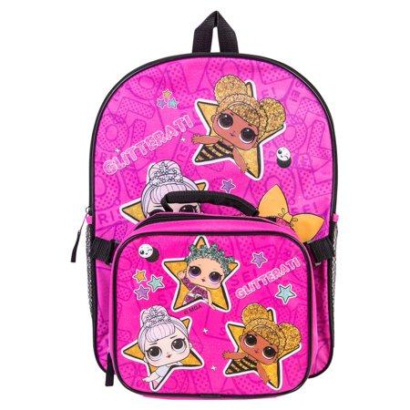L.O.L. Surprise lol Girl School Book bag Backpack Lunch Box Set Doll Kids Series LOL- LOCFL31UP