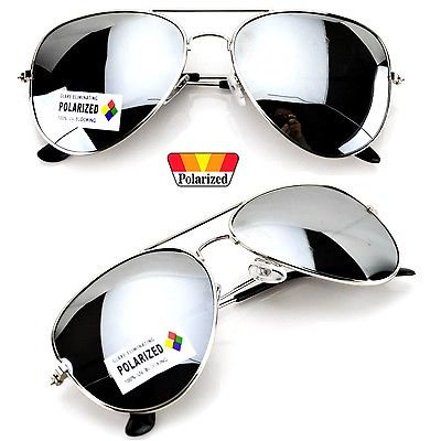 WearMe Pro - Polarized Classic Silver Mirror Aviator Sunglasses for Men Women