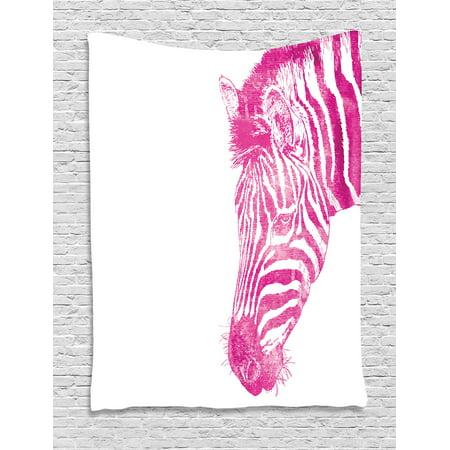 Pink Zebra Tapestry, Head of Zebra Vibrant Portrait Watercolor Murky ...