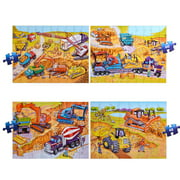 4 In 1 Floor Puzzle Set Cartoon Construction Vehicles Jigsaw Puzzles for Boys Girls