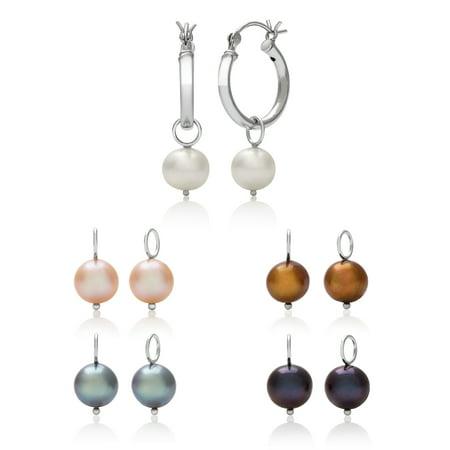 7-8mm Multi-Colored Cultured Freshwater Pearl Sterling Silver Hoop Earring Set, 5-Pair Cultured Freshwater Pearl Earring Set