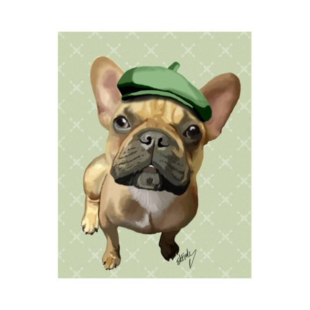 Brown French Bulldog with Green Hat Print Wall Art By Fab Funky