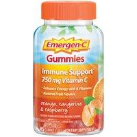 Emergen-C Gummies (45 Count, Orange, Tangerine and Raspberry Flavors) Immune Support with 750mg Vitamin C Dietary Supplement, Caffeine Free, Gluten Free