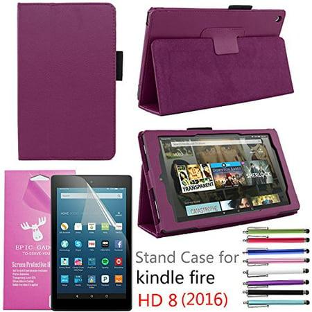 2016 Amazon Fire Hd 8  Case  Epicgadget Tm  Auto Sleep Wake Premium Pu Leather Folding Folio Case For  6Th Generation Fire Hd 8  8  Hd Display Tablet   Screen Protector   1 Random Color Stylus Purple