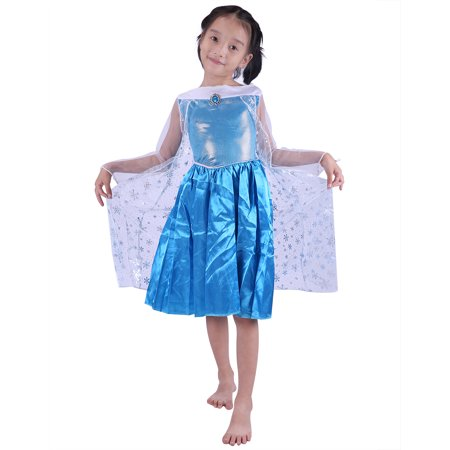 hde girls ice princess halloween costume frost blue with sheer snowflake cape