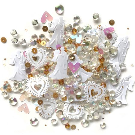 Buttons Galore Sparkling Gemstone Craft Embellishments 500 Pc - Just Married - Set of 3 Packs