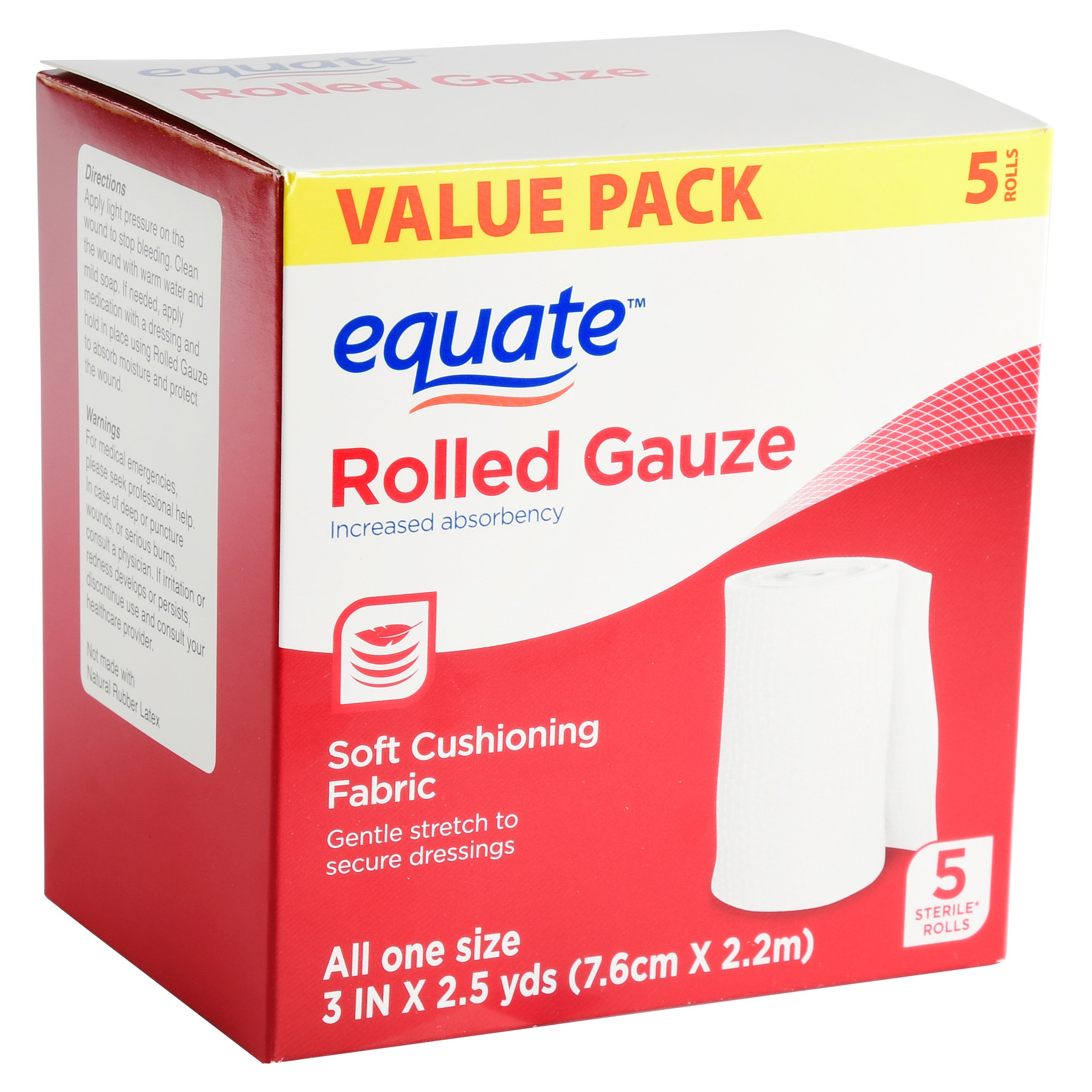 Equate Rolled Gauze, Value Pack, 5 Ct