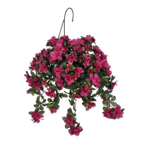 Charlton Home Faux Azalea Floral Arrangement in Handle Planter