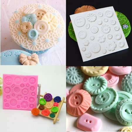 Button Mold (Silicone Baking Molds Cup Cake Buttons Embossing Mat Mold Flower Fondant Sugarcraft Decorating)