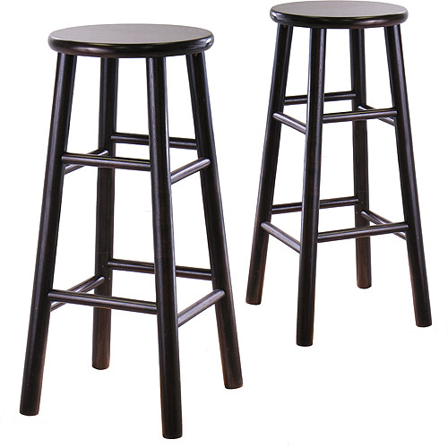 "Beveled Seat Barstools 30"", Set of 2, Espresso"