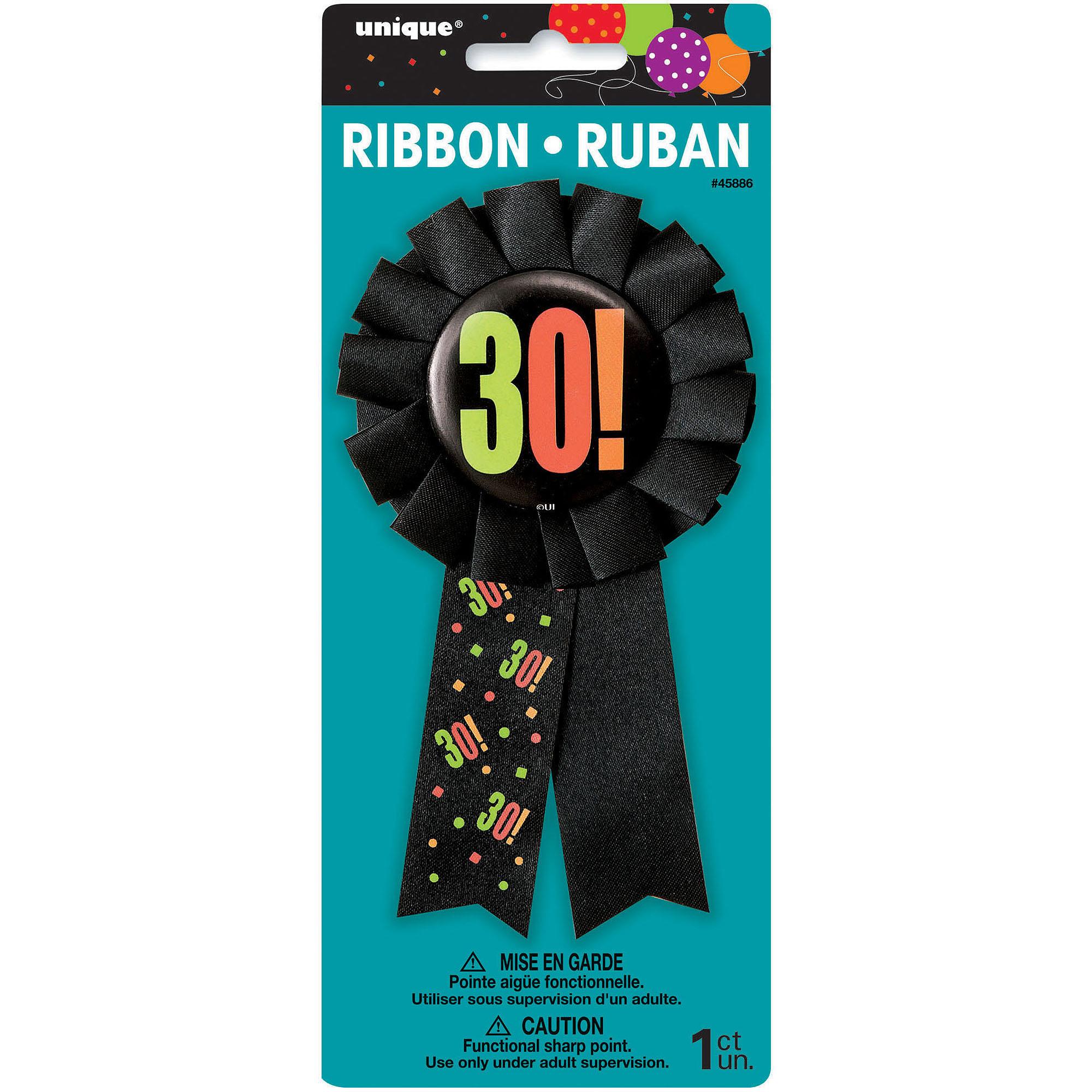 Birthday Cheer 30th Birthday Award Badge, Black, 1ct