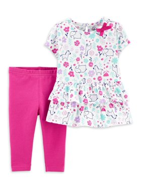 Child of Mine by Carter's Ruffle Peplum Short Sleeve Shirt and Pant Set, 2pc set