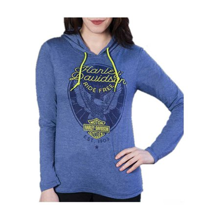 Harley-Davidson Women's Ante Up Embellished Long Sleeve Hoodie Tee, Blue Heather, Harley Davidson