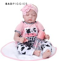 BadPiggies Reborn Baby Dolls 22 inch,Quality Realistic Handmade Babies Dolls Girls Soft Vinyl Silicone Lifelike Kids Gifts / Toys Age 3+