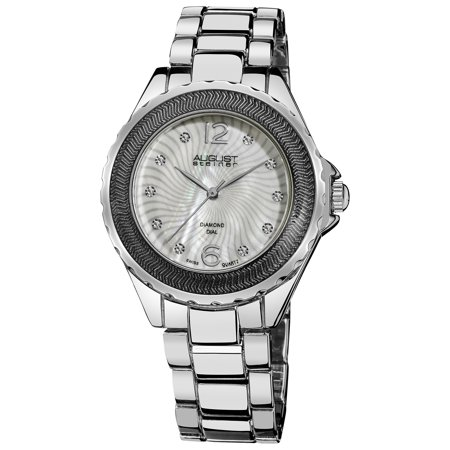Mother Of Pearl Silver Wrist Watch - Women's Diamond Mother of Pearl Bracelet Watch in Silver-Tone Finish