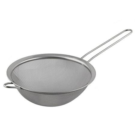 Home Kitchenware Metal Round Flour Soybean Milk Noodle Mesh Strainer Silver Tone