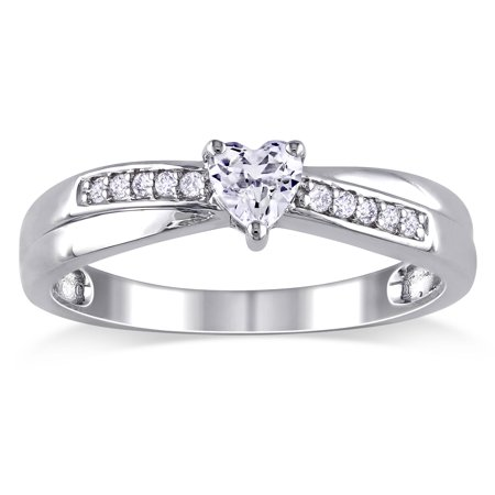 Sterling Silver Created White Sapphire and Diamond Accent Heart Promise Ring (G-H, - Diamond & Sapphire Heart Ring