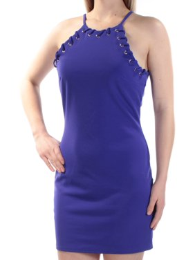 ecae249ce Product Image TRIXXI Womens Blue Eyelet Sleeveless Jewel Neck Mini Body Con  Dress Juniors Size: 7