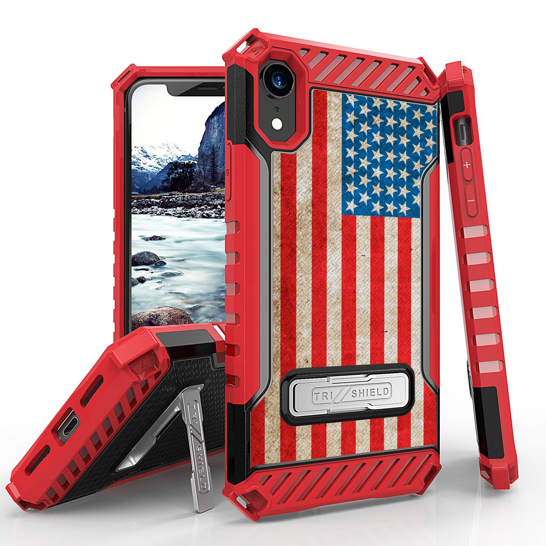 Beyond Cell Case for iPhone XR - Tri Shield Military Grade Shock Proof Kickstand Case Cover for Apple iPhone XR - Vintage American Flag