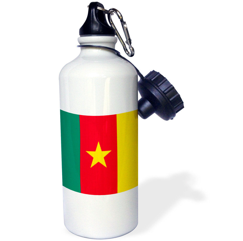 3dRose Cameroon Flag, Sports Water Bottle, 21oz