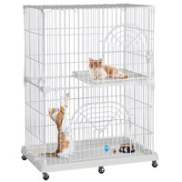 Topeakmart 2 Tier Rolling Metal Wire Pet Cage Lockable Cat Playpen Tower Pet Indoor Shelter White