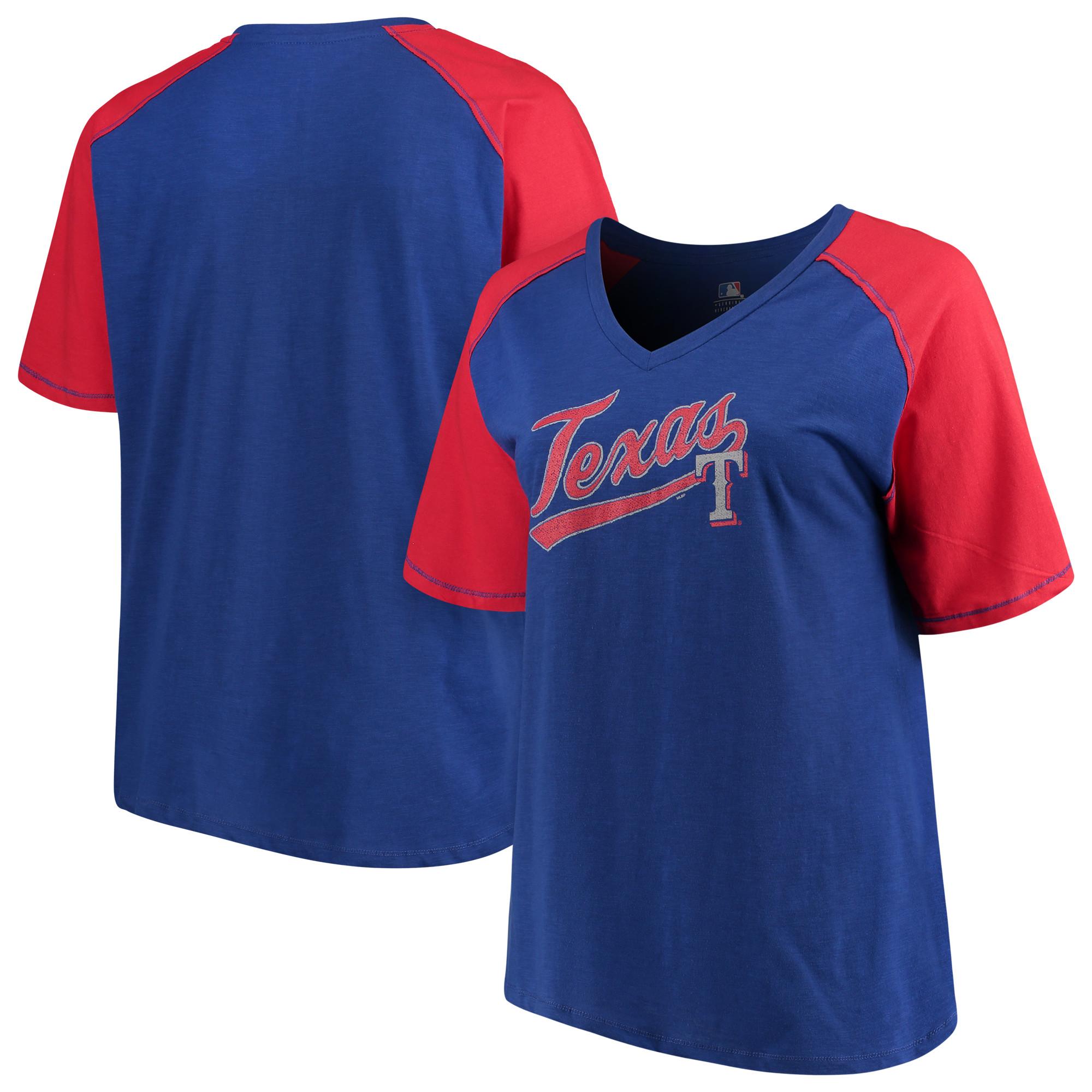Women's Majestic Royal/Red Texas Rangers Plus Size High Percentage Raglan V-Neck T-Shirt