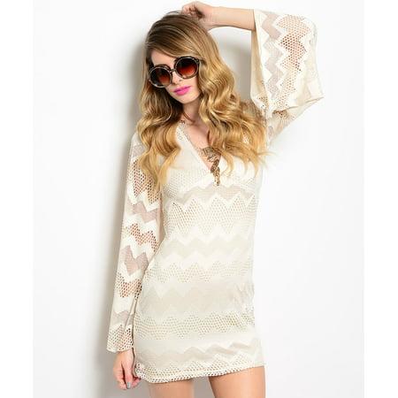 Audrey Boho Theme Sheath Beige Dress Small