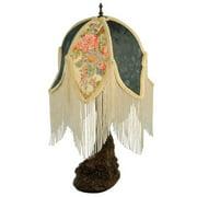 "Meyda Tiffany 16568 18.75"" H Fabric & Fringe Tulip Table Lamp"