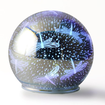 LED Color Changing Lighted Glass Dragonfly 3D Effect Gazing Ball Dragonfly Light Set