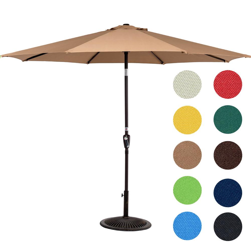 Outdoor Patio Table Umbrella Garden Yard Tilt Crank Push Button 9-Feet Aluminum