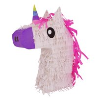 Lutema Unicorn Head Pinata with /Pink Stylish Hair and Multi Colored Horn