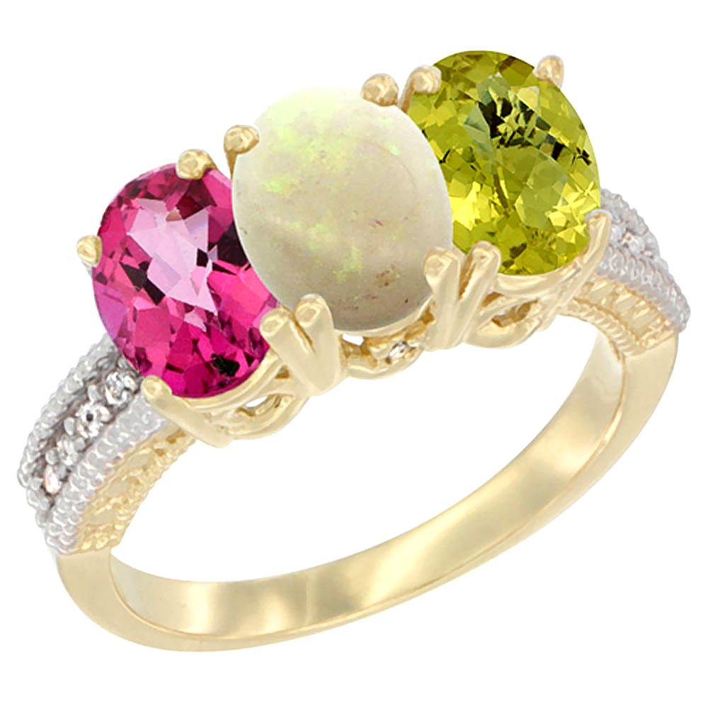 10K Yellow Gold Diamond Natural Pink Topaz, Opal & Lemon Quartz Ring 3-Stone 7x5 mm Oval, sizes 5 10 by WorldJewels