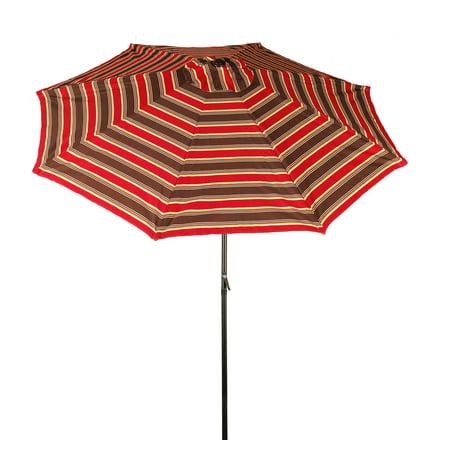 9-ft Market Umbrella with Aluminum Frame, Crank & Tilt - Red Stripe