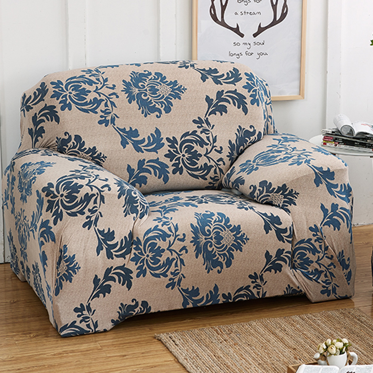 Stretch Fabric One Seater L Shape, TKOOFN Elastic Sofa Cover Couch Furniture Slipcover Protector