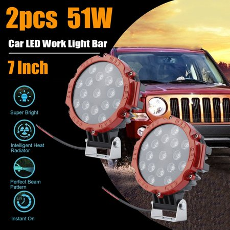 2pcs 7 Inch 51w Car Led Working Light Lamps Driving Lamp Motorcycle