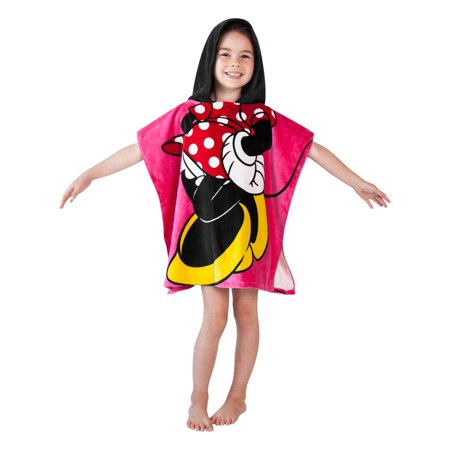 Girls Minnie Mouse Hooded Beach Towel Pink