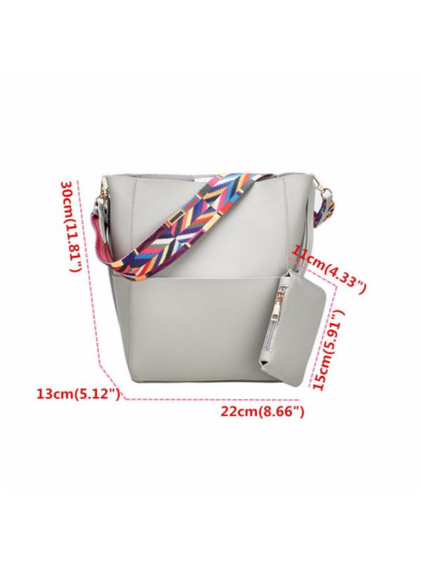 Classic Casual Hobo Bucket Bag Sling Crossbody Bag Handbag 2 Piece Shoulder Bags
