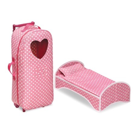 "Badger Basket 3-in-1 Trolley Doll Carrier with Rocking Bed and Bedding - Pink/Polka Dot - Fits American Girl, My Life As & Most 18"" Dolls"