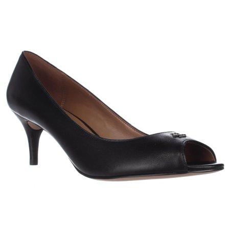 fff1ecf3d9827 Coach - Womens Coach Delilah Peep Toe Kitten Heels - Black/Black -  Walmart.com