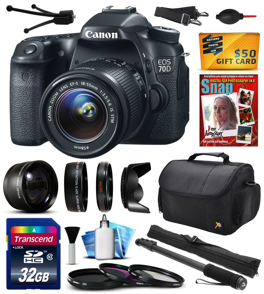 "Canon EOS 70D Digital SLR Camera with 18-55mm STM Lens with 32GB Memory + 2.2x Telephoto + 0.43x Wide Angle Lens + Hood + UV-CPL-FL Filters + 67"" Monopod + DVD + Cleaning Kit + $50 Gift Card 8469B009"