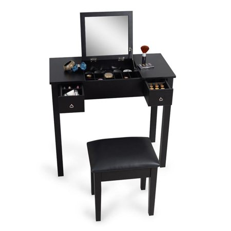 Organizedlife Black Dressing Table with Vanity Stool Makeup Desk Cosmetic Storage Organizer - Childrens Dressing Up Accessories