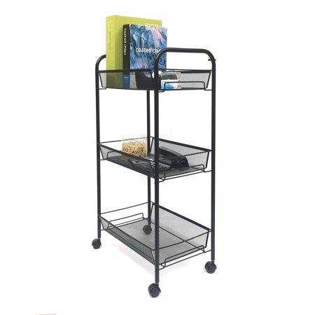 Mind Reader  Roll rolling metal mesh 3 shelf cart, Black